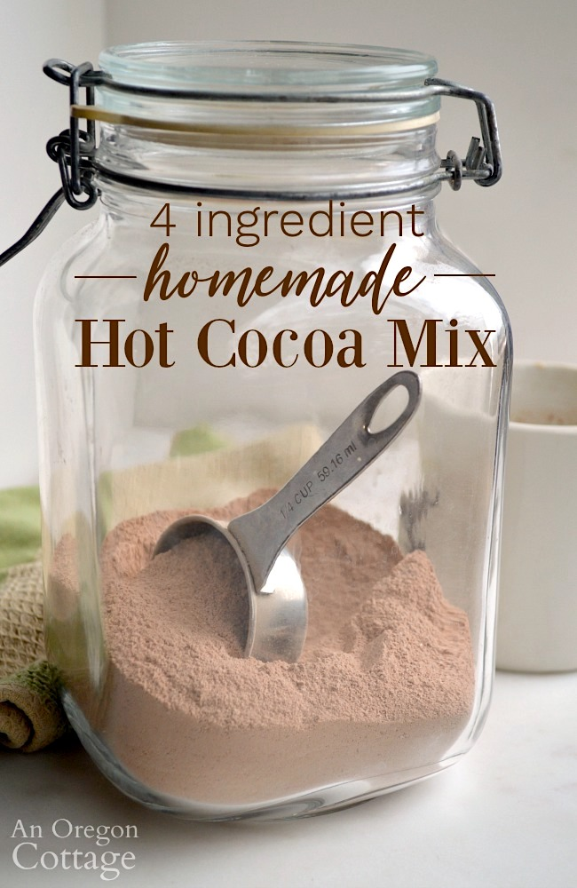 4 Ingredient Homemade Hot Cocoa Mix jar