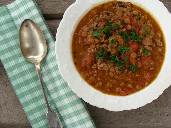 Amazing Lentil Sausage Stew - you will never thing of lentils in the same way again!