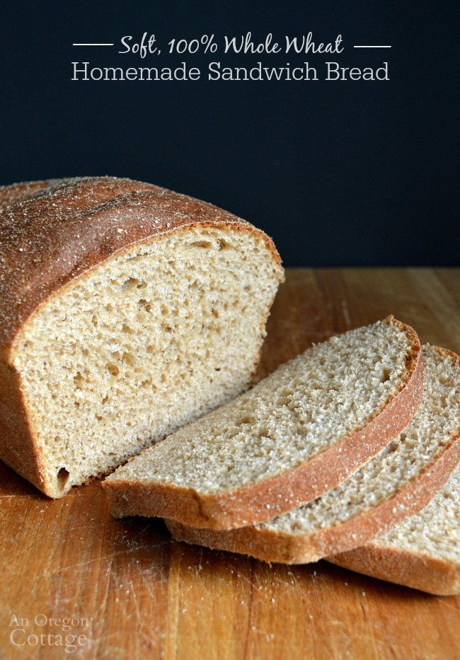 100% Whole Wheat homemade sandwich bread loaf