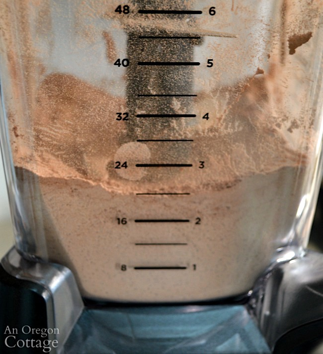 Homemade Hot Cocoa Mix blending finished