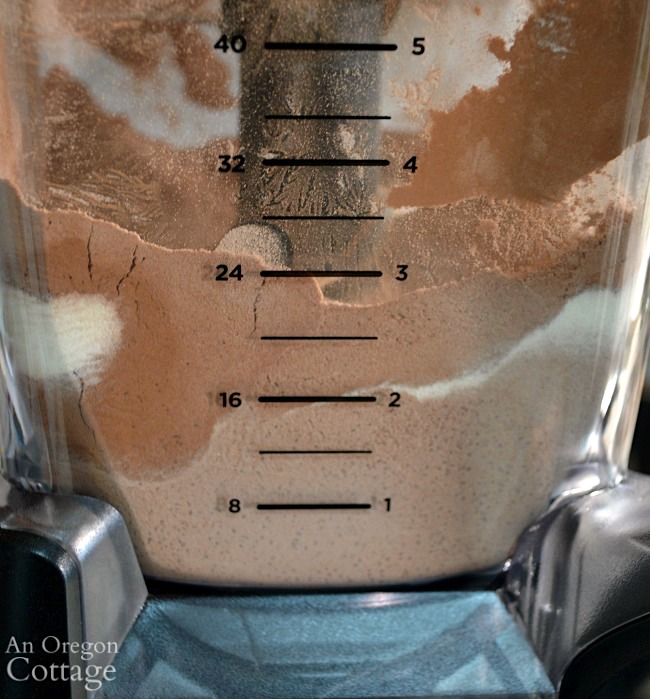 Homemade Hot Cocoa Mix blending stage