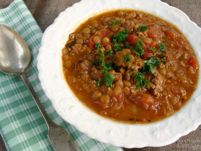 The best sausage and lentil stew with a secret seasoning