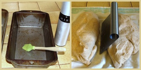Whole wheat sandwich bread-prepping pans and dough