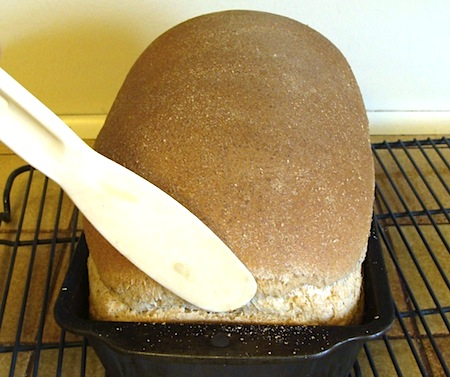 removing baked loaf from pan