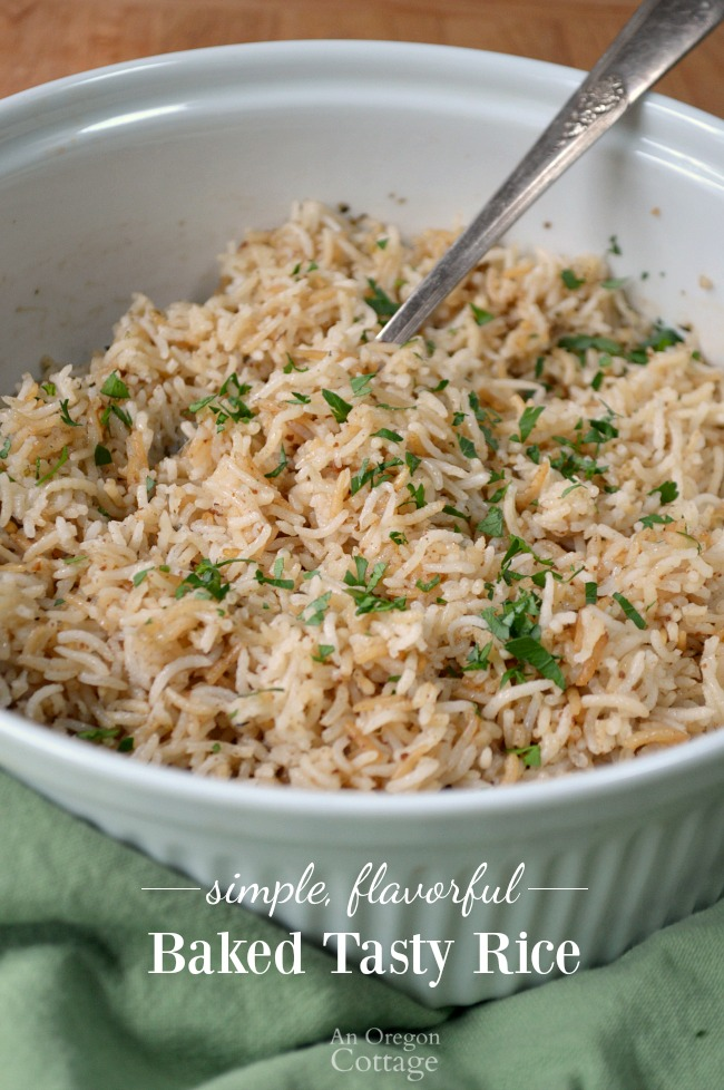 Simple Flavorful Baked Tasty Rice in bowl