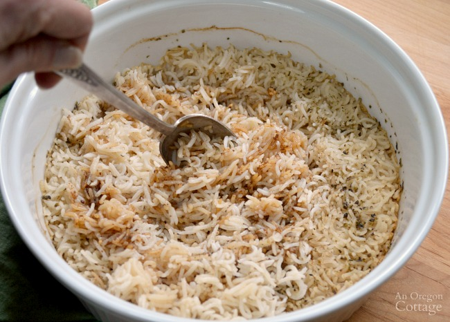 Stirring Baked Tasty Rice