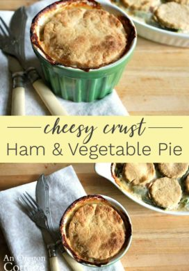 Cheesy crust ham and vegetable pie