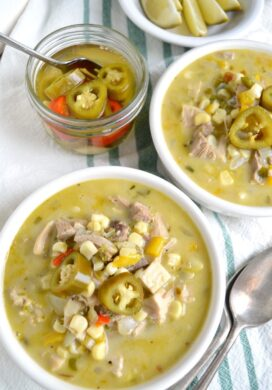 Mexican chicken corn soup in bowls above_