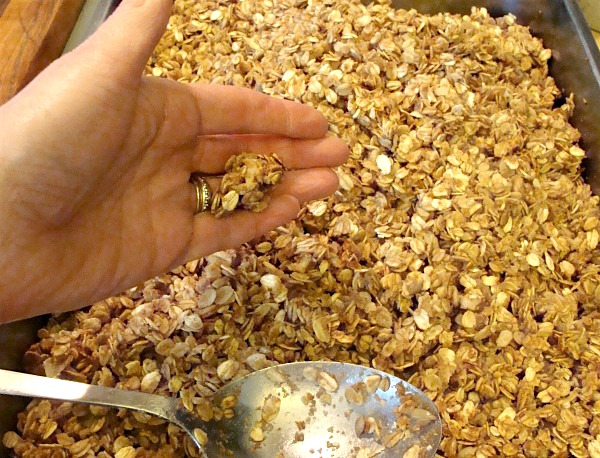Testing clumpiness of homemade granola