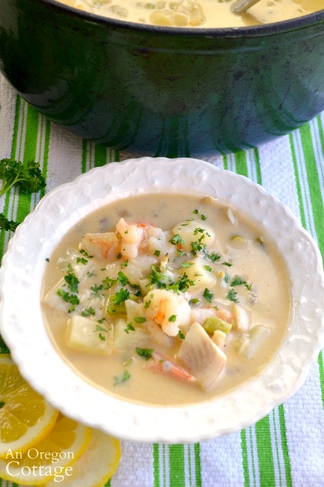 Seafood Chowder with Green Chilies in bowl