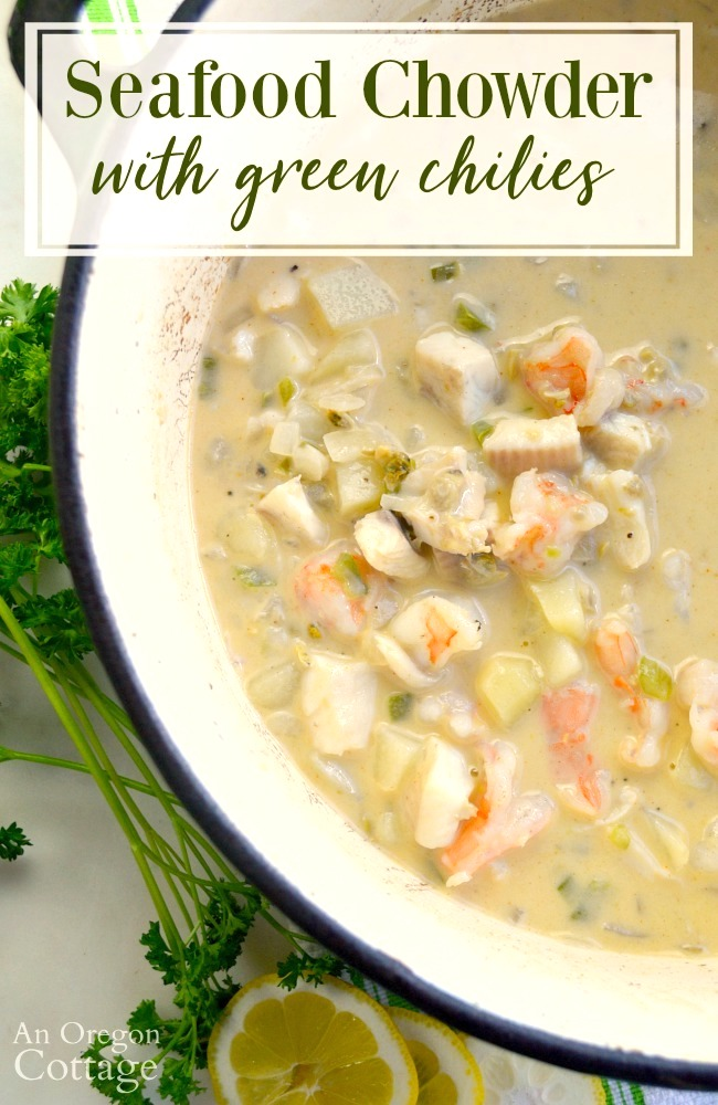 Seafood Chowder with Green Chilies in pot above