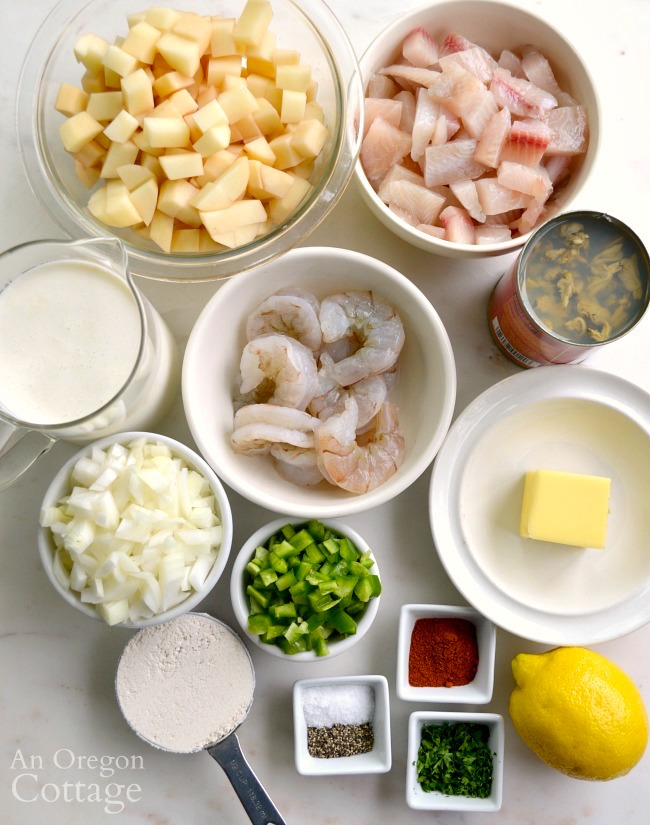 Seafood Chowder with Green Chilies ingredients