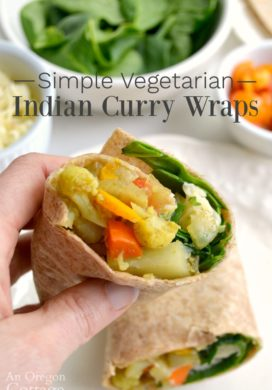 vegetarian Indian curry wraps inside