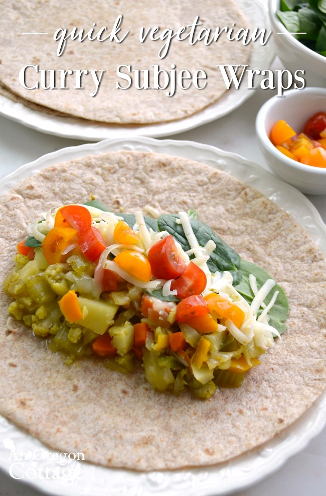 Vegetarian Indian Style Sub-jee wraps