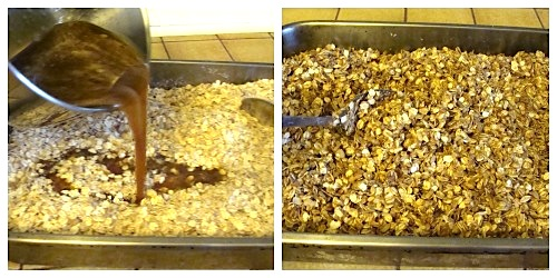 coating granola mixture