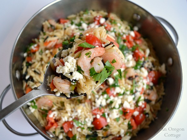 30 minute Greek Style Orzo and Shrimp - pair with a salad and dinner's done!