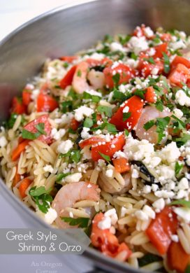 Greek Style Shrimp and Orzo in pan