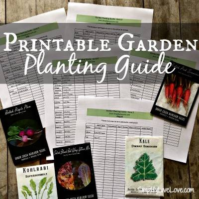 Printable garden planting guide at SimplifyLiveLove