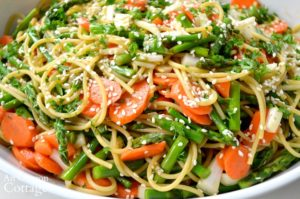 Asian Noodle Salad with Asparagus close