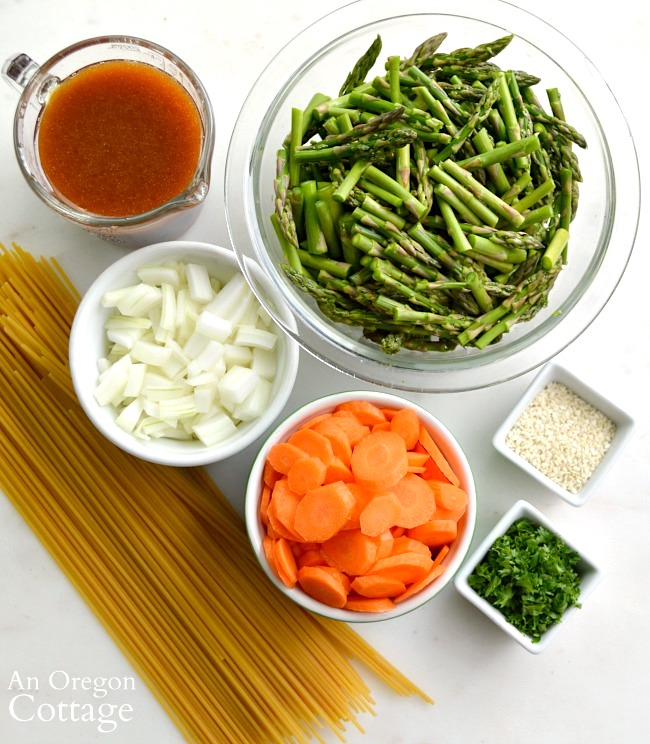 Asparagus Noodle Salad ingredients