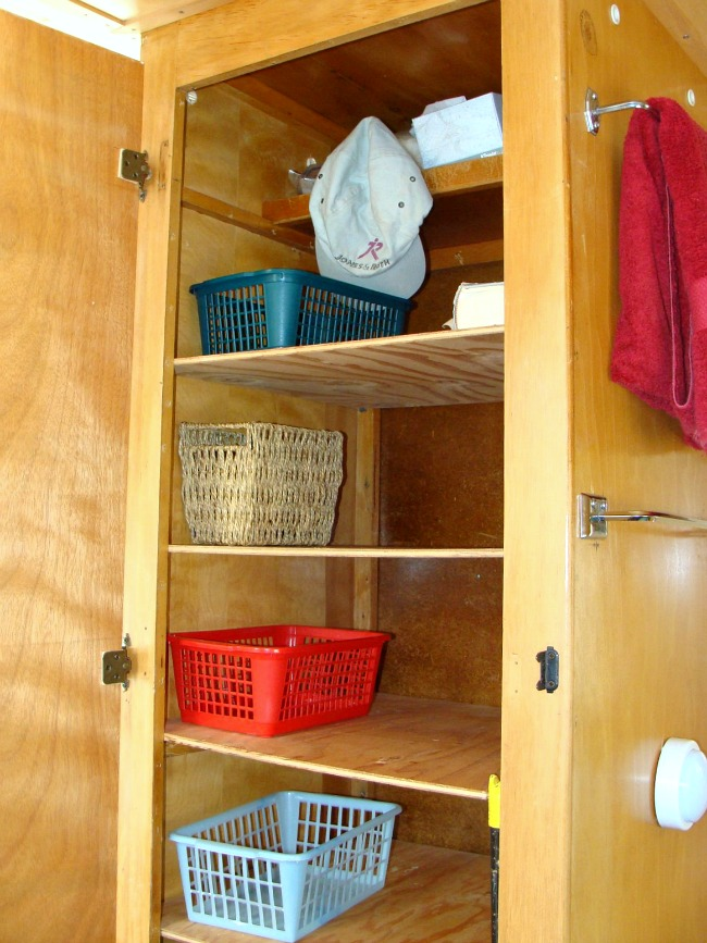 Dalton vintage trailer closet shelves