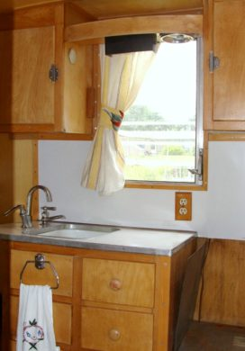 Dalton vintage trailer kitchen area