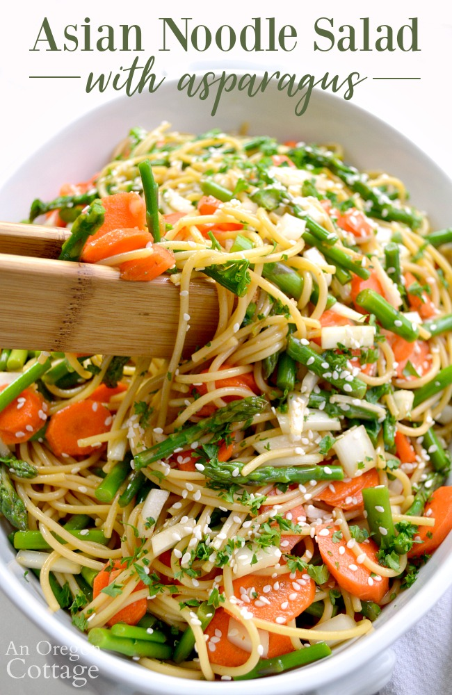 Serving Easy Asian Noodle Salad with Asparagus