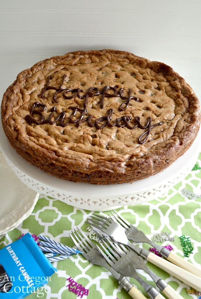 Terrific Giant Chocolate Chip Cookie Cake Pan Or Skillet Baked An Personalised Birthday Cards Cominlily Jamesorg