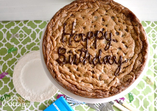 Giant Birthday Cookie above with writing
