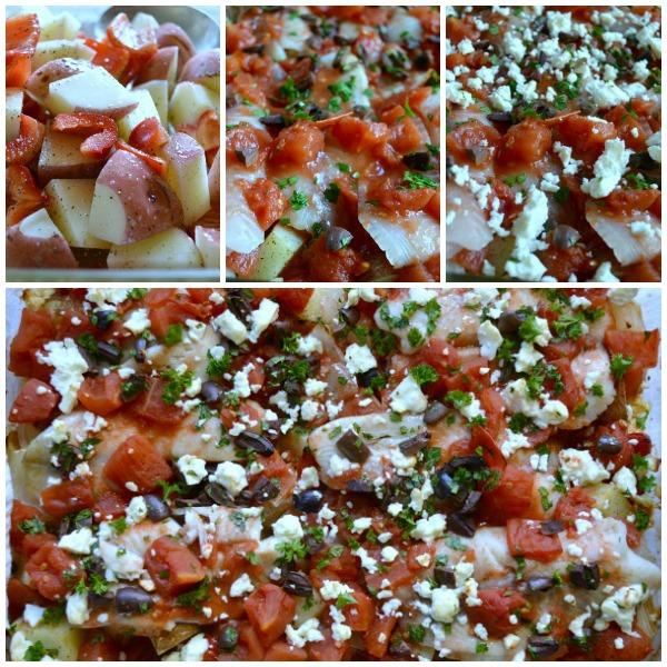Mediterranean Fish Bake - a one-dish meal bursting with flavor from feta cheese, kalamata olives and garlic
