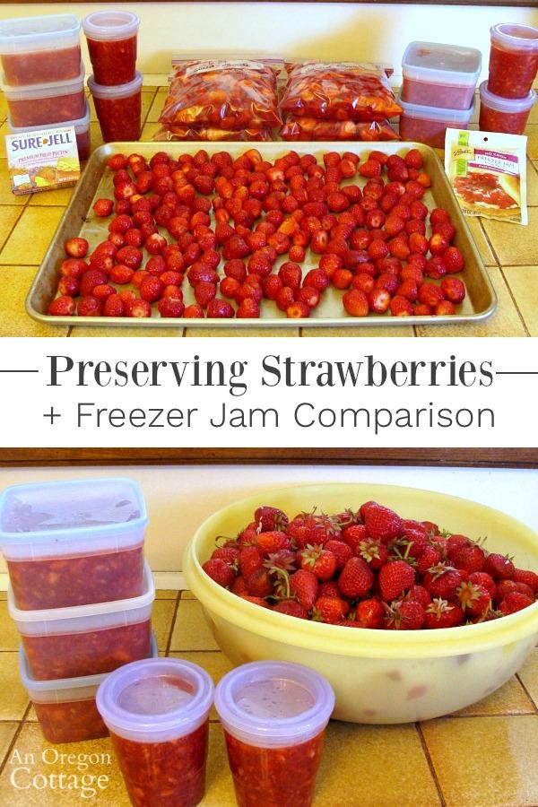 Preserving strawberries-freezer jam comparison