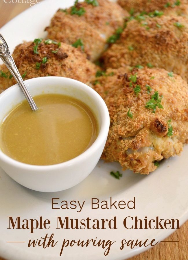 maple mustard baked chicken with sauce