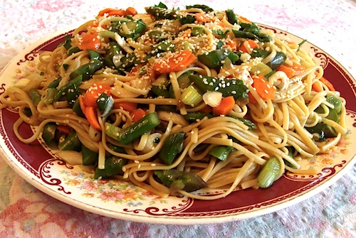 Spicy Noodle Salad {With Asparagus or Seasonal Vegetables} - An Oregon ...