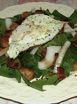 Spinach, Bacon, and Fried Egg Salad