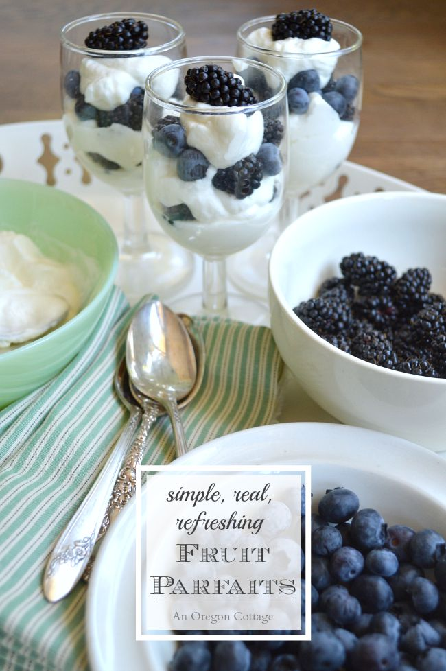 Almost the perfect warm weather dessert - seasonal fruit layered with honey-sweetened whipped cream