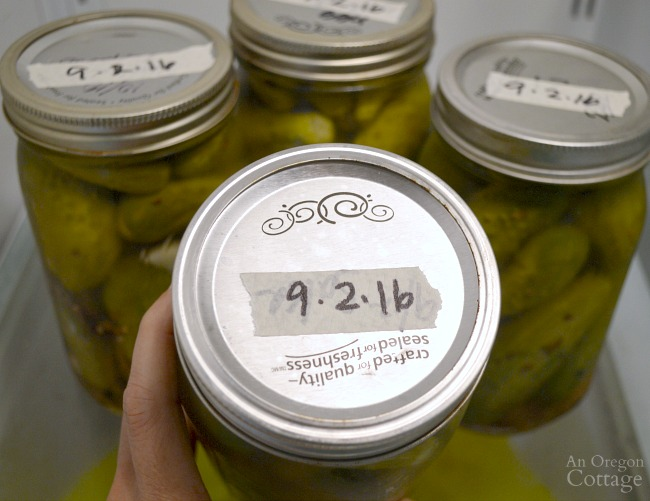 Easy Garlic Dill Pickles labeled with date