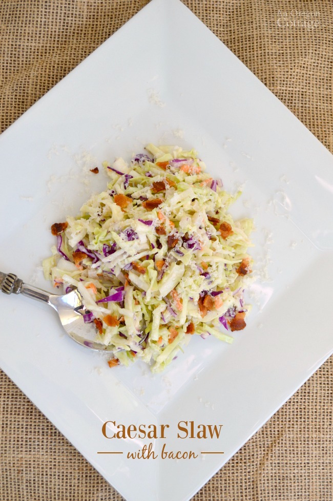Change your slaw routine with a Caesar dressing and bacon! It's a delicious change and makes a perfect, family favorite side dish!