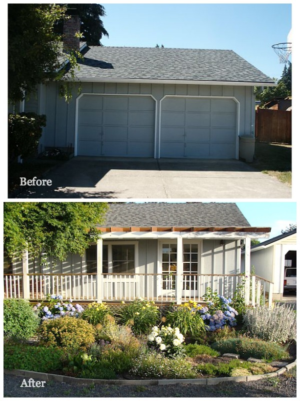Garage Exterior Before-After - An Oregon Cottage