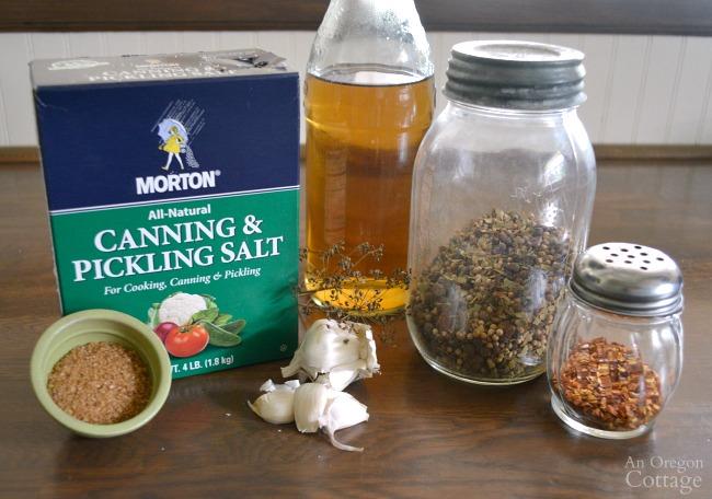 Garlic Dill Pickle Ingredients