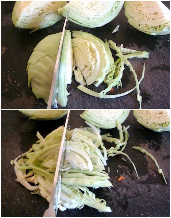 Slicing cabbage for caesar slaw