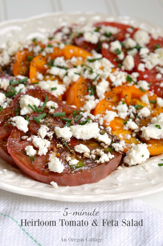 Heirloom Tomato-Feta Salad on plate