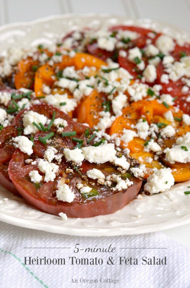 5-minute Heirloom Tomatoes and Feta Salad- simple, seasonal food at it's best.
