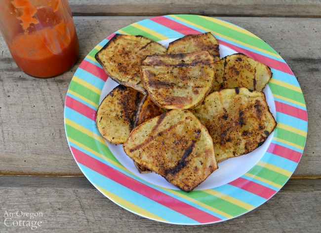 Easy grilled potato planks with homemade ketchup.