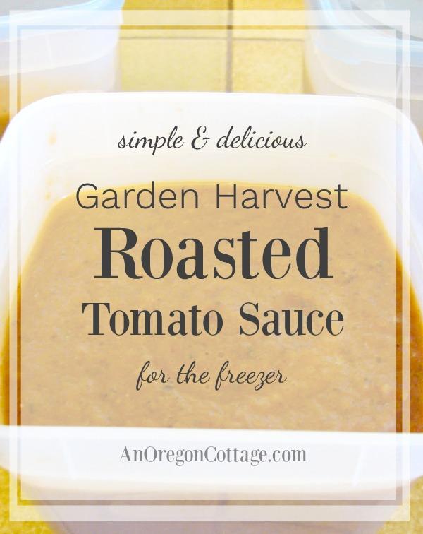 Garden harvest roasted tomato sauce for the freezer.