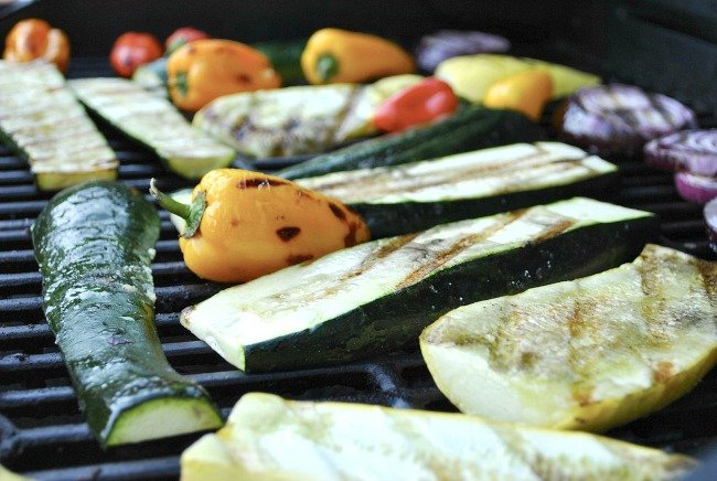zucchini and vegetables on grill