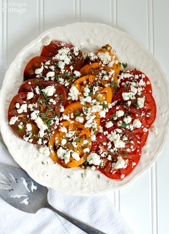 Simple Heirloom Tomatoes and Feta Salad above