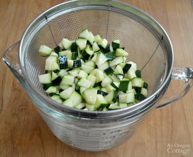 Zucchini Corn and Tomato Saute-draining zucchini