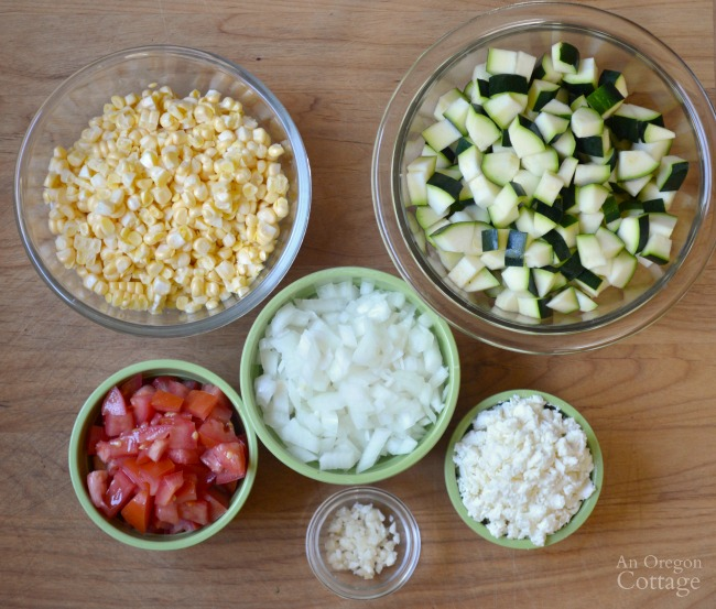 Zucchini Corn and Tomato Saute ingredients prepped