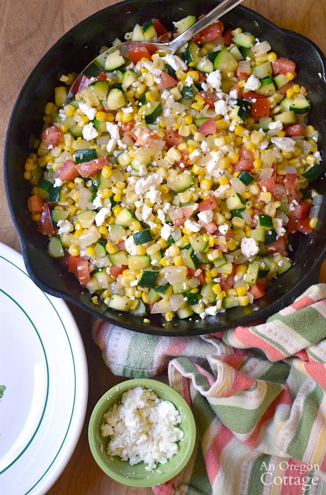 Zucchini Corn and Tomato Saute with Feta-a delicious and easy summer garden-to-table recipe