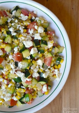 Zucchini Corn and Tomato Saute with Feta- a fresh garden-to-table side dish